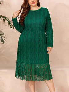 Plus Size Lace High Waist Long Sleeve Casual Dress