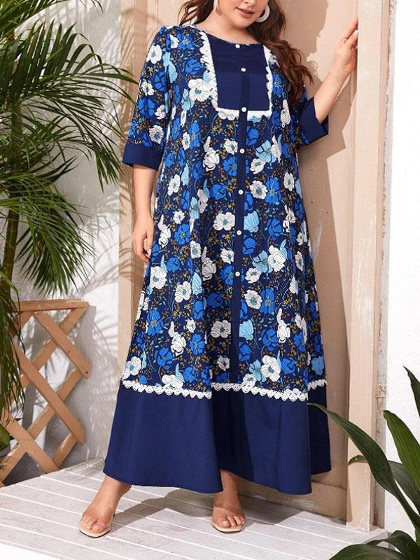 Plus Size Round Neck Seven-point Sleeves Printed Dress