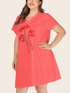 Plus Size V-neck Loose Casual Dress