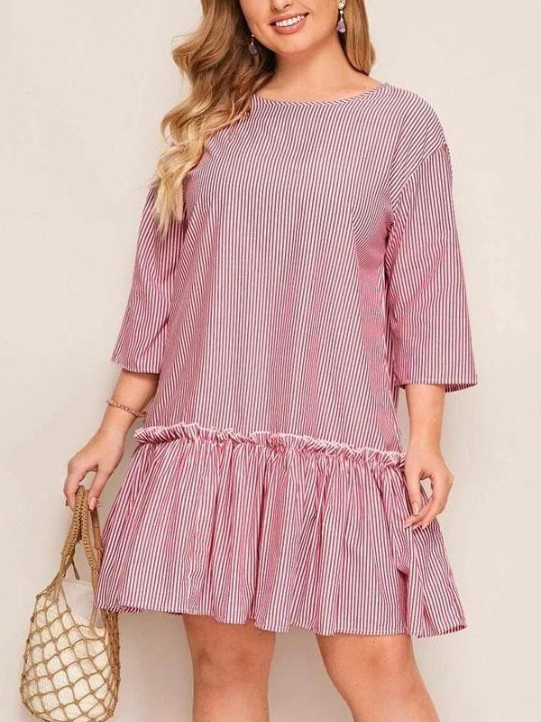 Plus Size O-neck Stripes Ruffle Loose Mini Dress