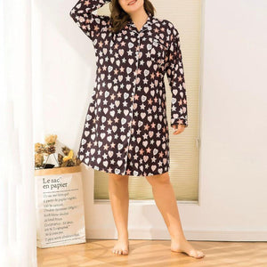 Floral Casual Plus-size Loose Mid-length Cardigan Home Skirt