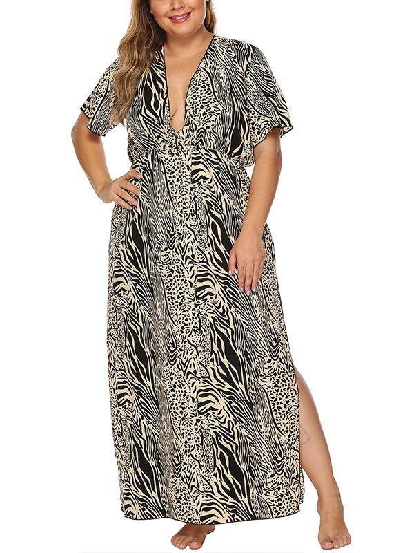 Leopard Print Deep V-neck Plus Size Dress