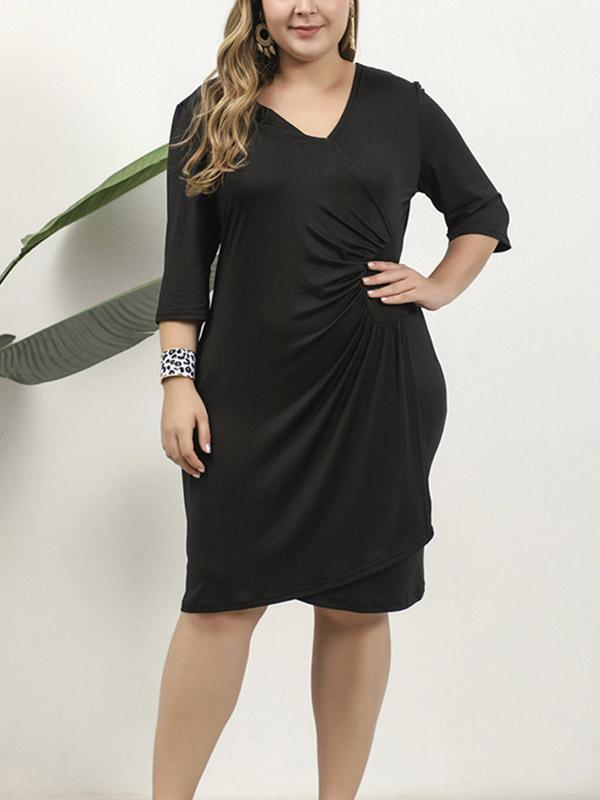 Plus Size Half Sleeve Irregular Bodycon Dress