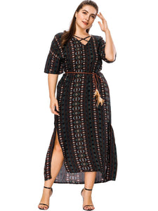 V-neck Wide Loose Dress