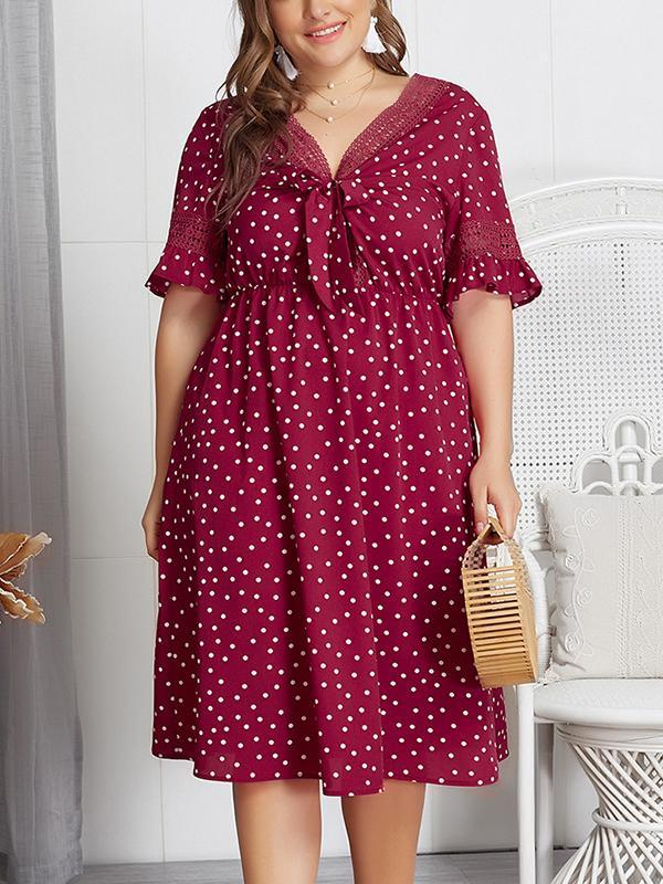 Plus Size Dot Print V Neck Dress