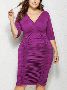 Sexy Pleated Plus Size V Neck Solid Color Half Sleeve Dress