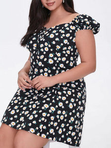 Plus Size Little Daisy Print Strapless Bow Tie Dress