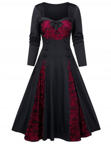 Plus Lace Stitching Long Sleeve Dress