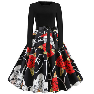 Plus Print Stitching Long-sleeved Large Dress With Ribbon