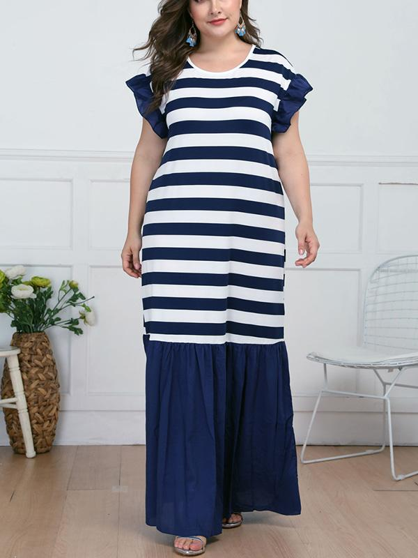 Plus Size Ruffles Striped Print Patchwork Long Dress