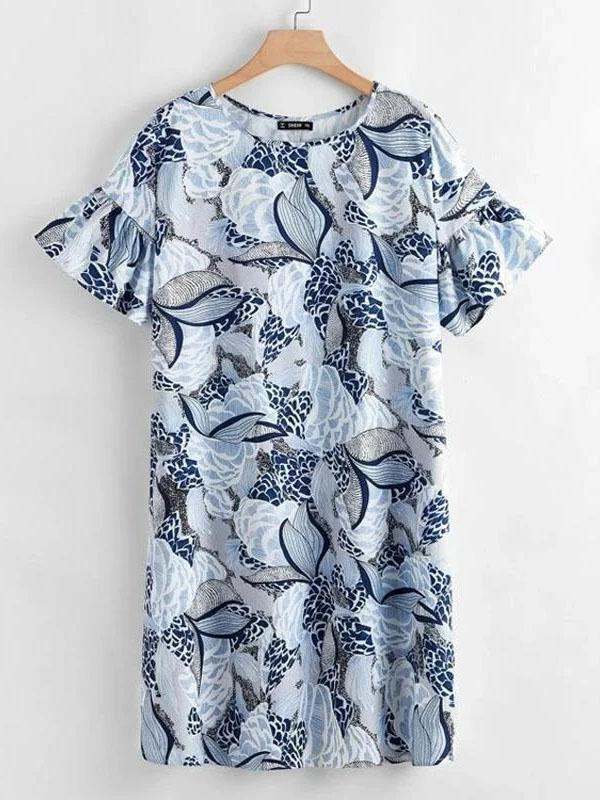 Plus Size O-neck Ruffled Sleeves Printed Loose Dress