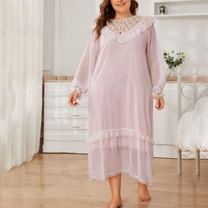 Lace Chiffon V-neck Plus Size Home Dress
