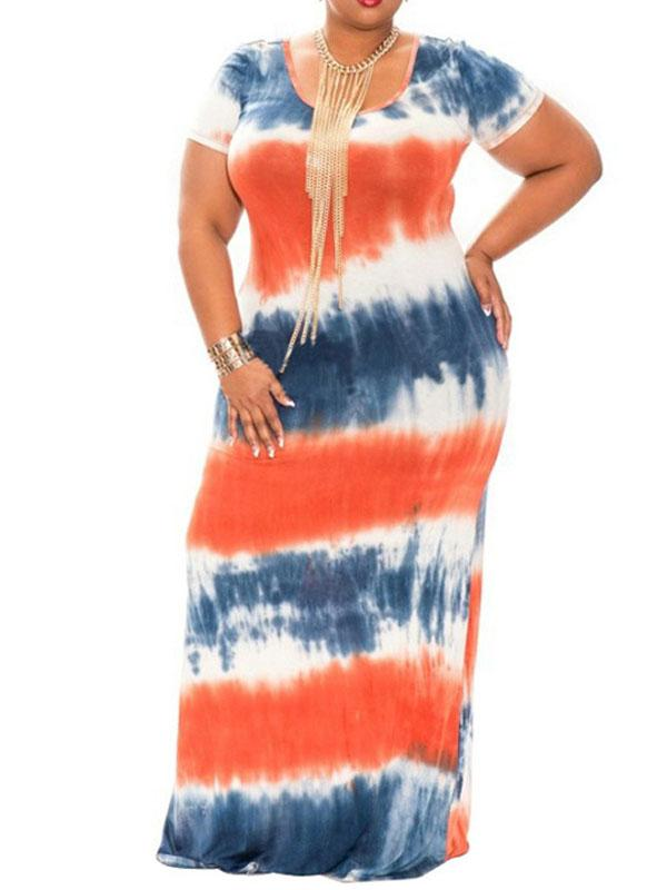 Tie-Dye Slim Round Neck Dress