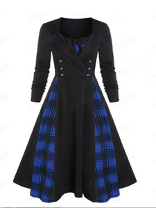 Plus Contrast Plaid Stitching Double-breasted Long-sleeved Slim Dress