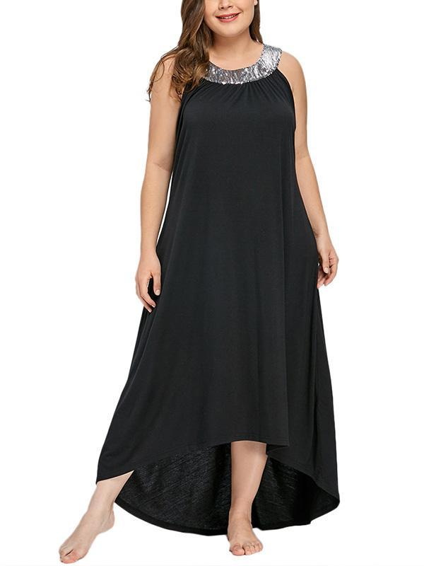 Sleeveless Plus Size Sequins Maxi Dress