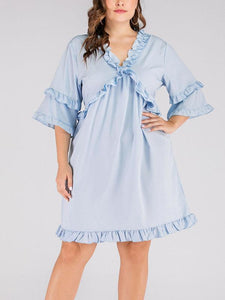 Sexy V-neck Flounces Long Sleeves Dress