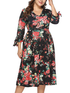 Elegant Women Plus Size Floral Printed Dress