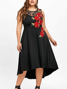 Plus Size O Neck Sleeveless Lace Floral Dress