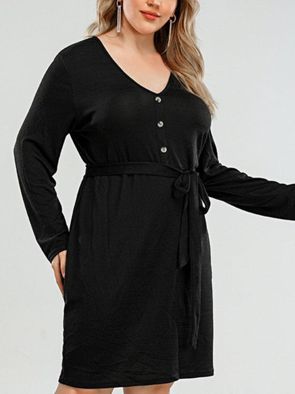V-neck Collect Waist Plus-size Long-sleeved Dress
