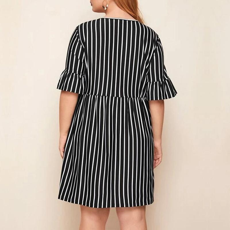 Plus Size Striped Mid-sleeve Round Collar Dress