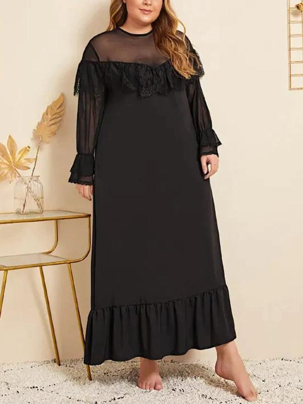 Plus Size Mesh Sexy Long Sleeve Maxi Dress