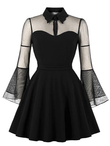Plus Size Halloween Mesh Stitching Retro Dress