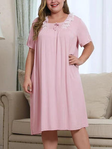 Plus Size Lace Square Collar Short Sleeve Loose Dress