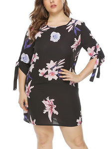Half Sleeve Plus Size Print Sexy Dress