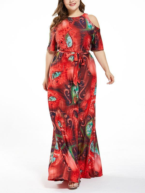 Plus Size Sexy Hollow Out Slim Fit A-line Maxi Dress