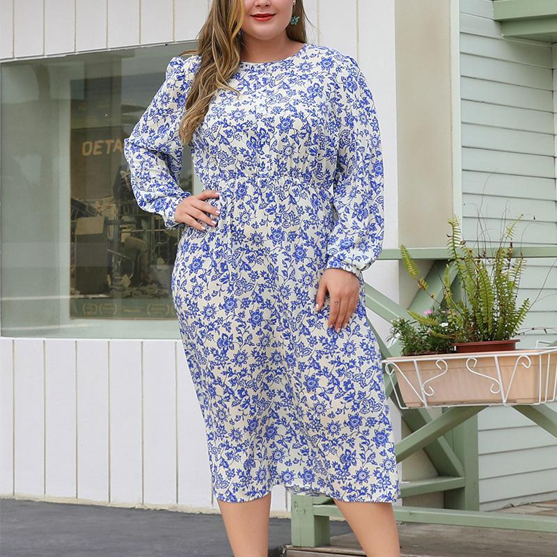 Plus Size Elastic Waist Print Long Sleeve Maxi Dress