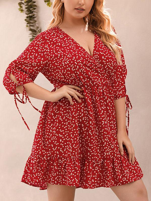 V-neck Print Plus Size Dress