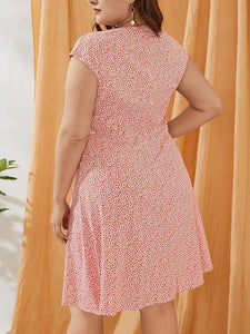 Plus Size Pink Print Sleeveless Dress