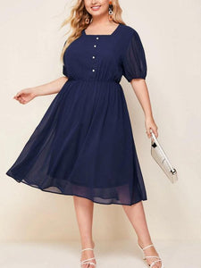 Square-cut Collar Chest Button Solid Colour Plus Size Chiffon Dress