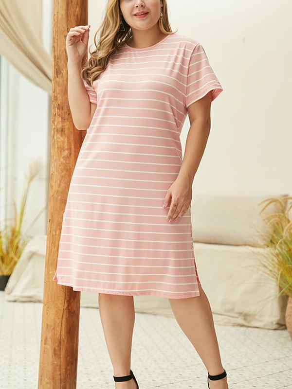 Plus Size Stripe Split Short Sleeve Midi Dress