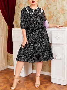 Plus Size Turn-down Collar Polka Dot Midi Dress