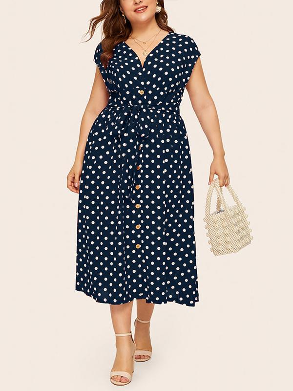 Plus Size Sexy Polka Dot V-neck Maxi Dress