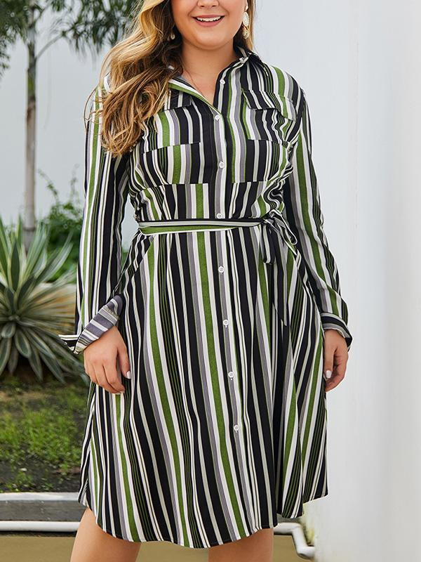 Plus Size Stripe Long Sleeve Belt Maxi Dress