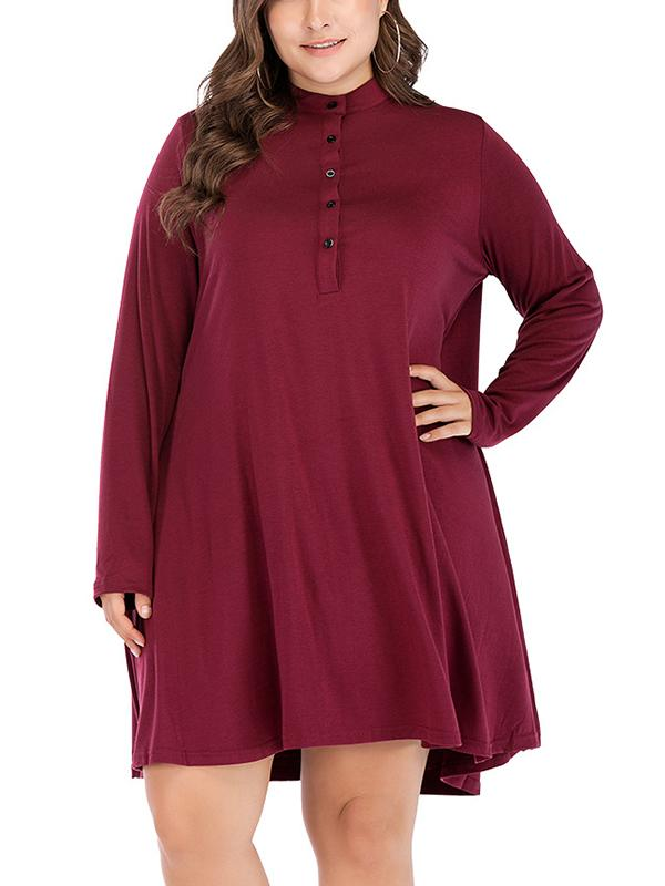 Plus Size Button Long Sleeve Casual Button Dress