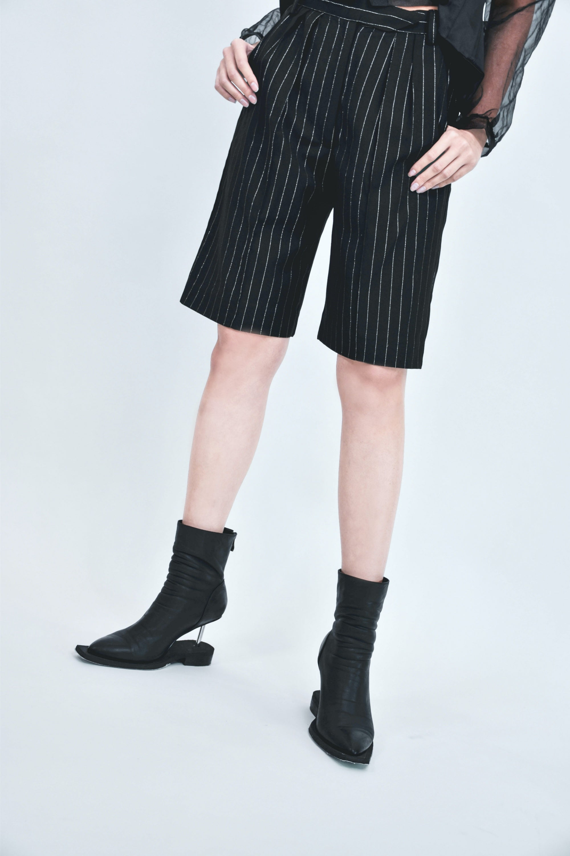 Lame Stripe High Waist Shorts Pants