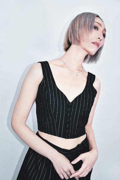 Lame Stripe Heart Neck Camisole