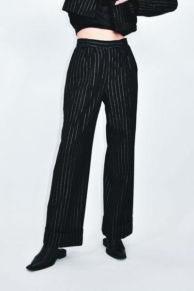 Lame Stripe High Waist Long Pants