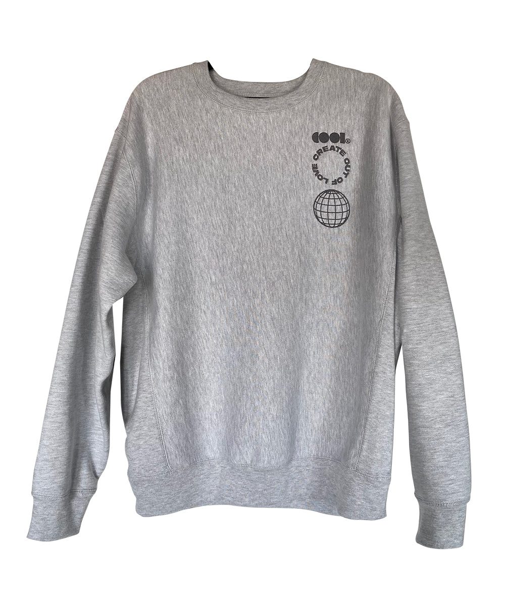 Heather Gray Crewneck with Embroidered Art