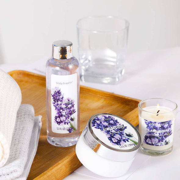 Body & Earth Gift Sets Lavender Home Spa Bathtub Gift Set