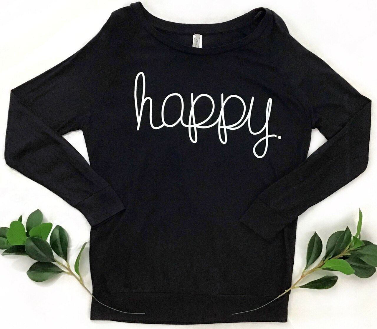 Montana's Heart Ladies Happy Black Pullover with Rhinestone