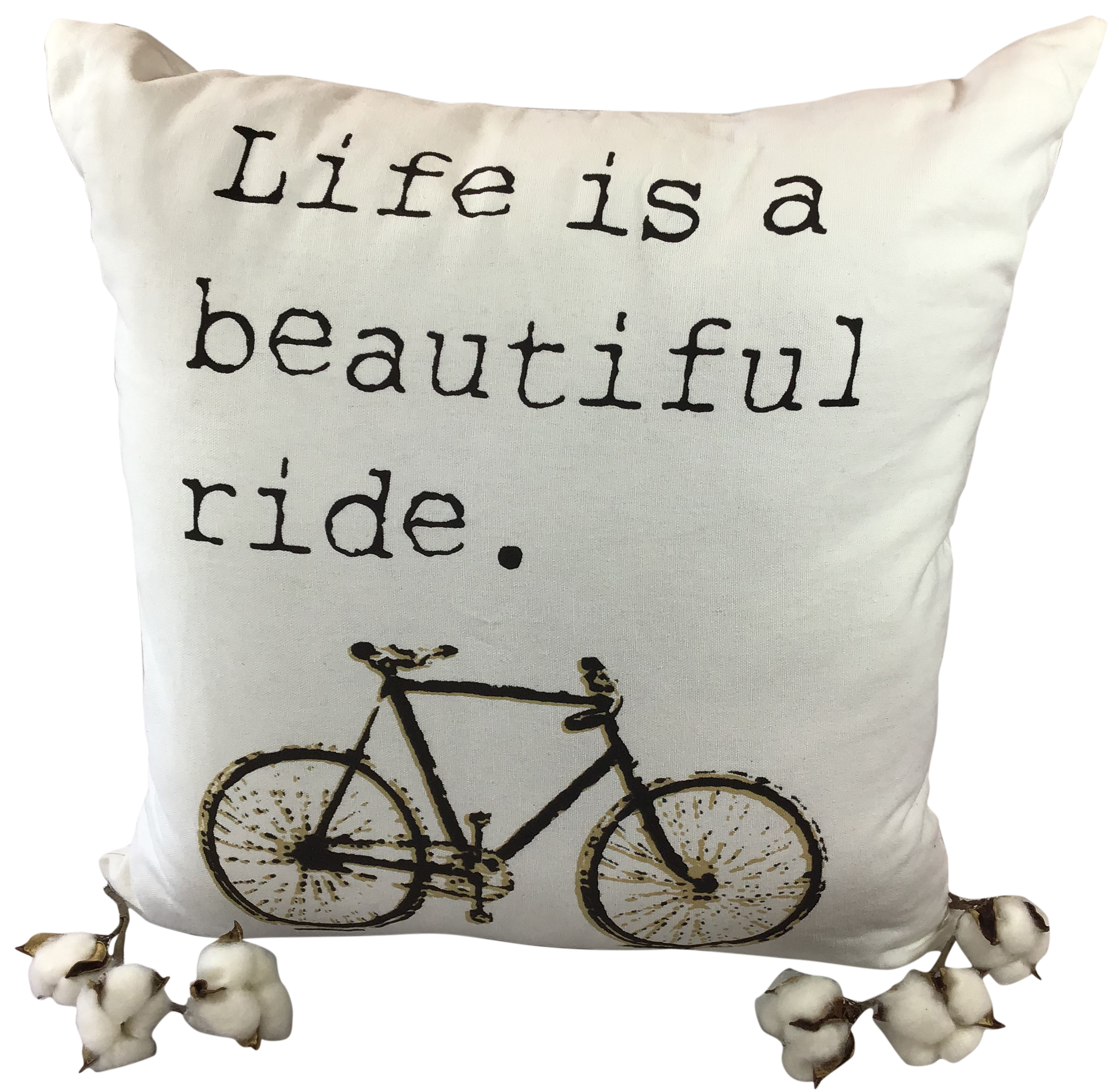 Montana's Heart Life Is A Beautiful Ride White Inspirational Cotton Pillow
