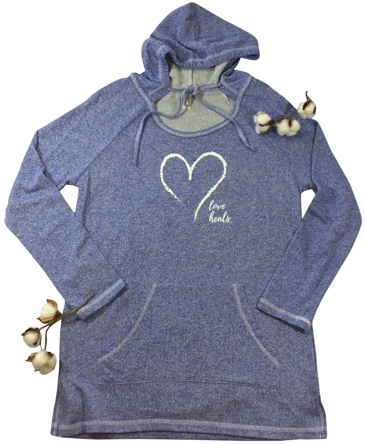 Montana's Heart Love Heals Ladies French Terry Fabric, Tunic Hoodie Long Sleeve Pullover