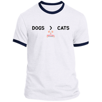 Dogs > Cats Short Sleeve Ringer Tee