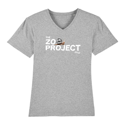 Mirrorball Snail White Text Men's V-Neck T-Shirt-The Zoo Project Store