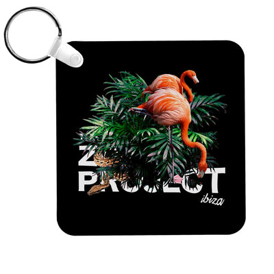Flamingos And Snake White Text Keyring-The Zoo Project Store