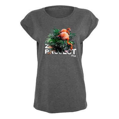 Flamingos And Snake White Text Women's Casual T-Shirt-The Zoo Project Store